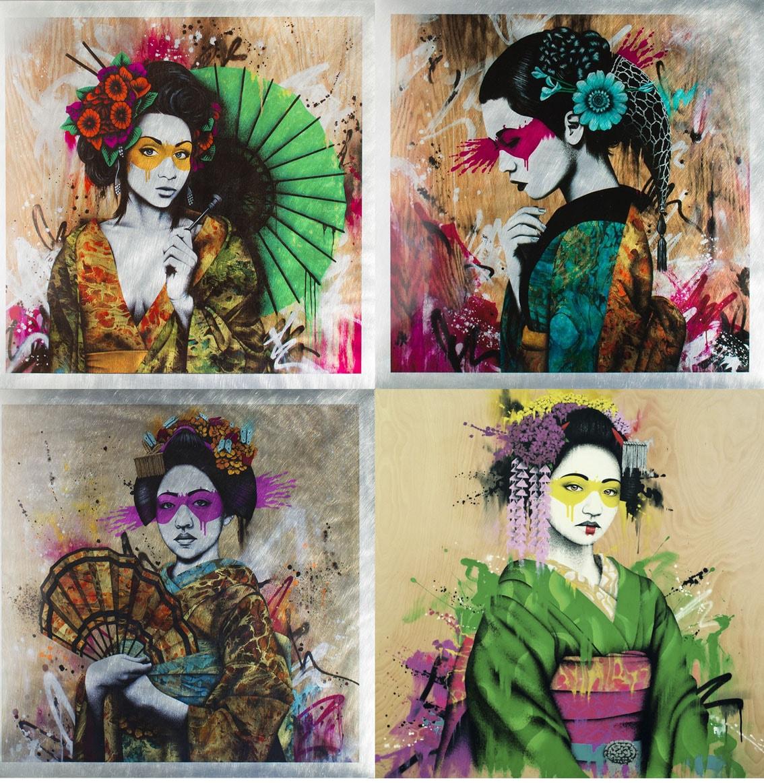 Arte urbana de retratos femininos em estêncil de Fin DAC stylo urbano