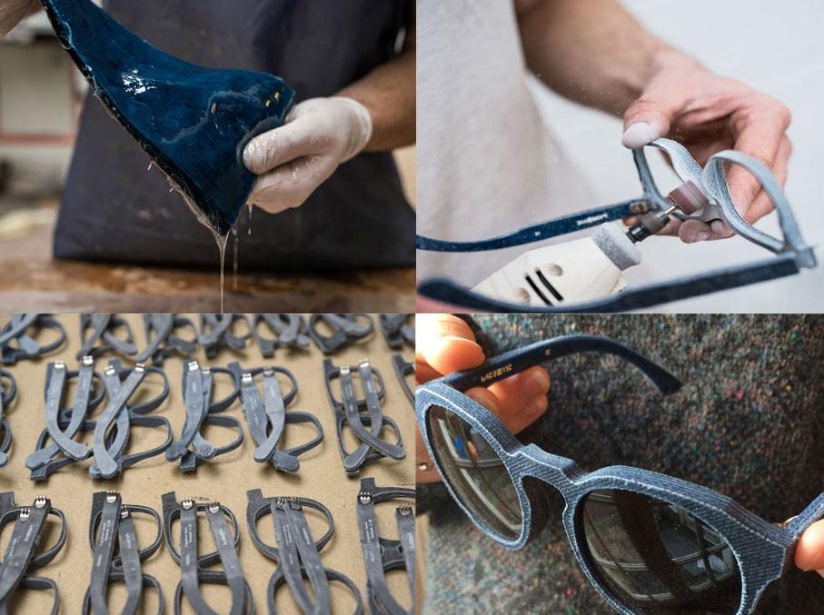 Mosevic cria estilosos óculos de sol feitos com retalhos de denim e resina stylo urbano