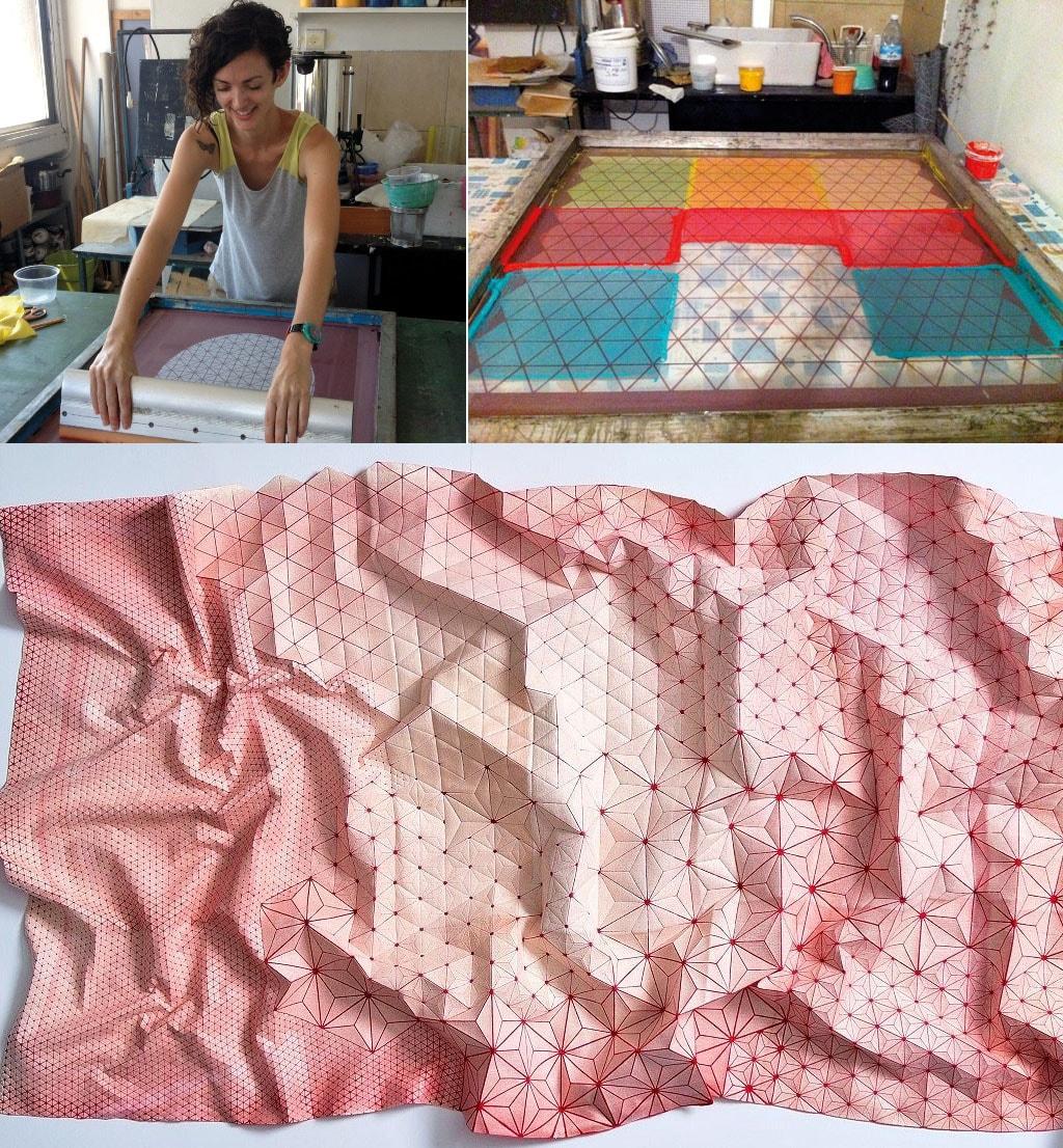 Designers criam tecidos tridimensionais inspirados nas dobraduras de origamis stylo urbano-1