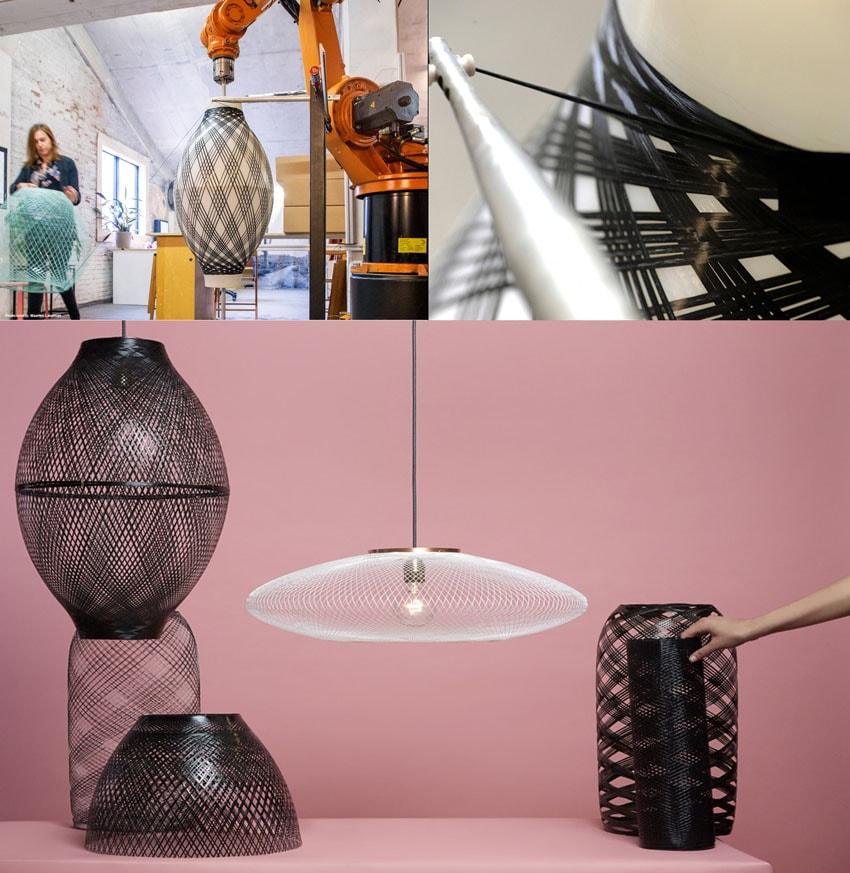 Designers utilizam robô industrial para tecer luminárias leves e modernas stylo urbano