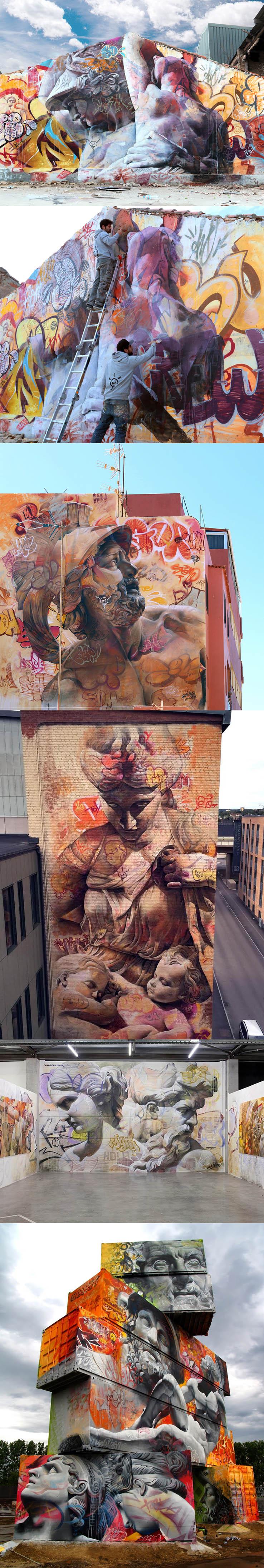 Pichi & Avo misturam deuses gregos com escritas de grafite em belos murais stylo urbano