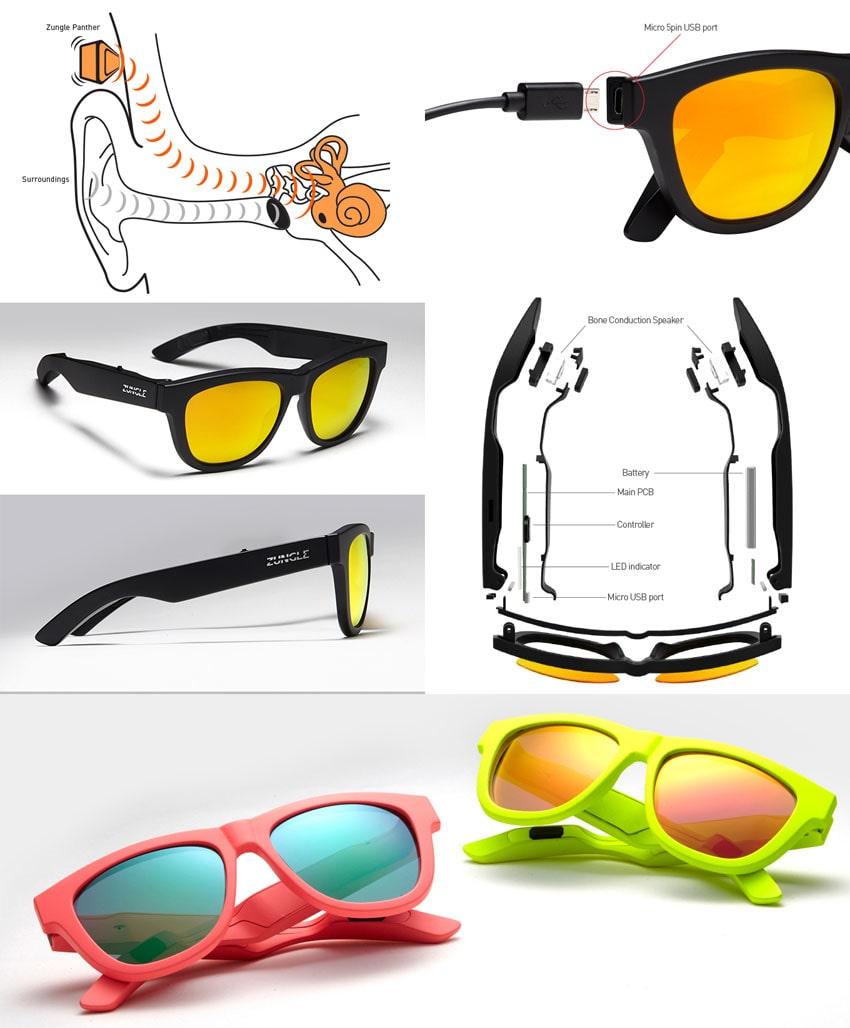 """O revolucionário óculos de sol """" Zungle Panther """" reproduz áudioatravés deindução óssea stylo urbano"""