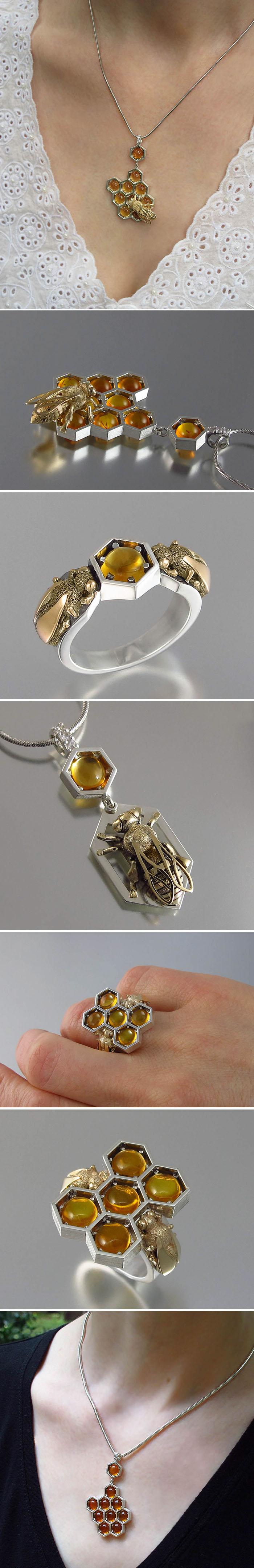 Design de jóias inspiradas na beleza dos favos de mel das abelhas stylo urbano
