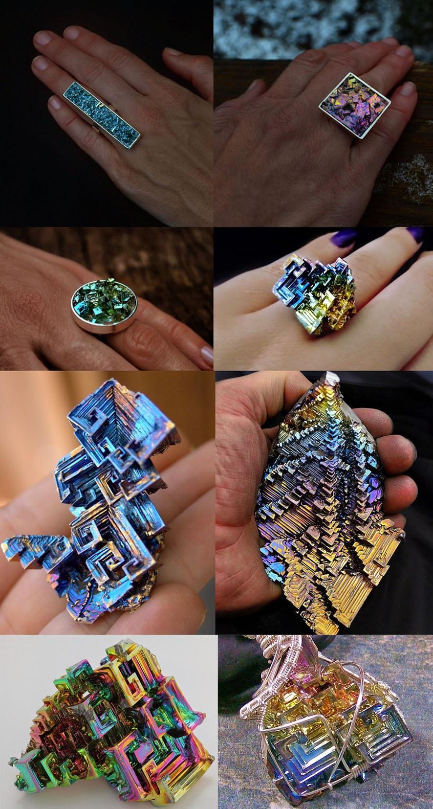 Cristais de bismuto - A beleza geométrica das jóias do arco-íris stylo urbano