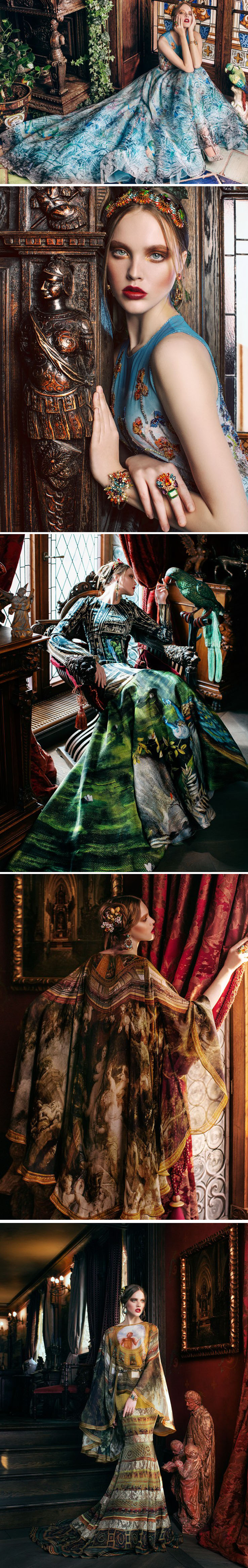 Vestidos de alta costura adornados com estampas de pinturas clássicas stylo urbano-2