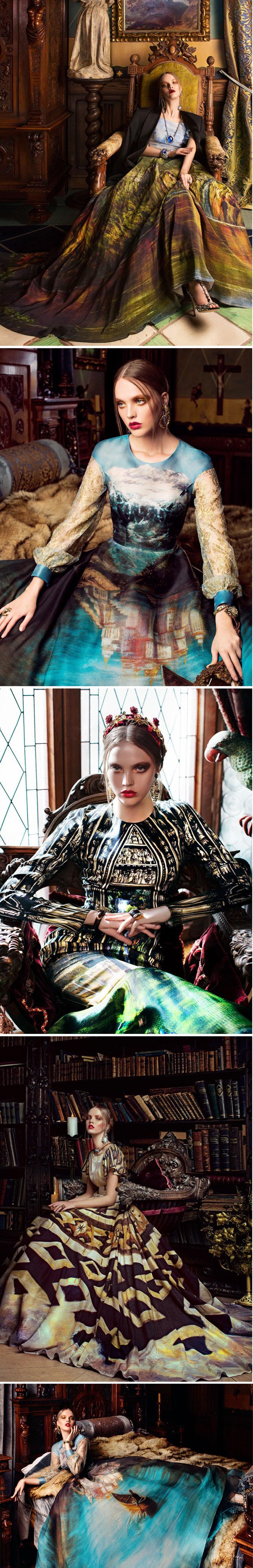 Vestidos de alta costura adornados com estampas de pinturas clássicas stylo urbano-1