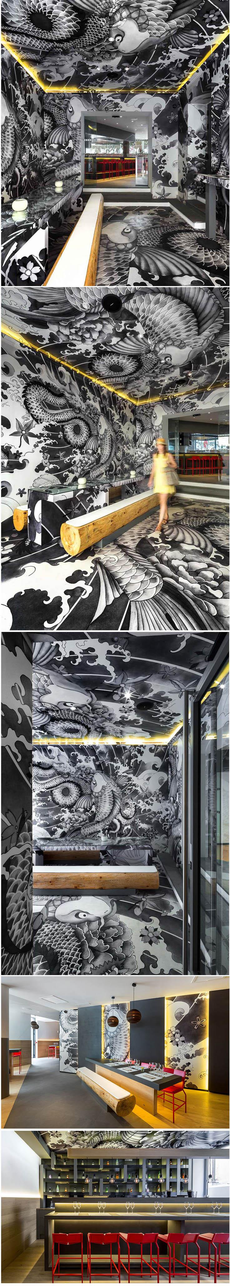 Restaurante japonês Koi tem suas paredes cobertas com tatuagem yakuza stylo urbano
