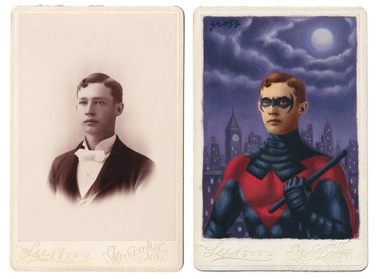 O artista Alex Gross pinta super-heróis sobre retratos antigos stylo urbano-3