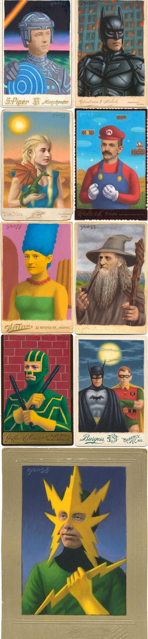 O artista Alex Gross pinta super-heróis sobre retratos antigos stylo urbano-1