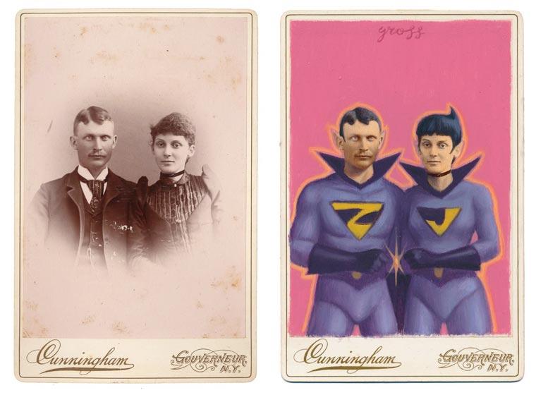 O artista Alex Gross pinta super-heróis sobre retratos antigos stylo urbano-4
