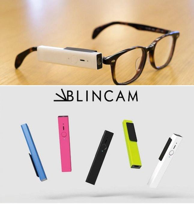 Tire fotos piscando o olho com o dispositivo portátil Blincam stylo urbano