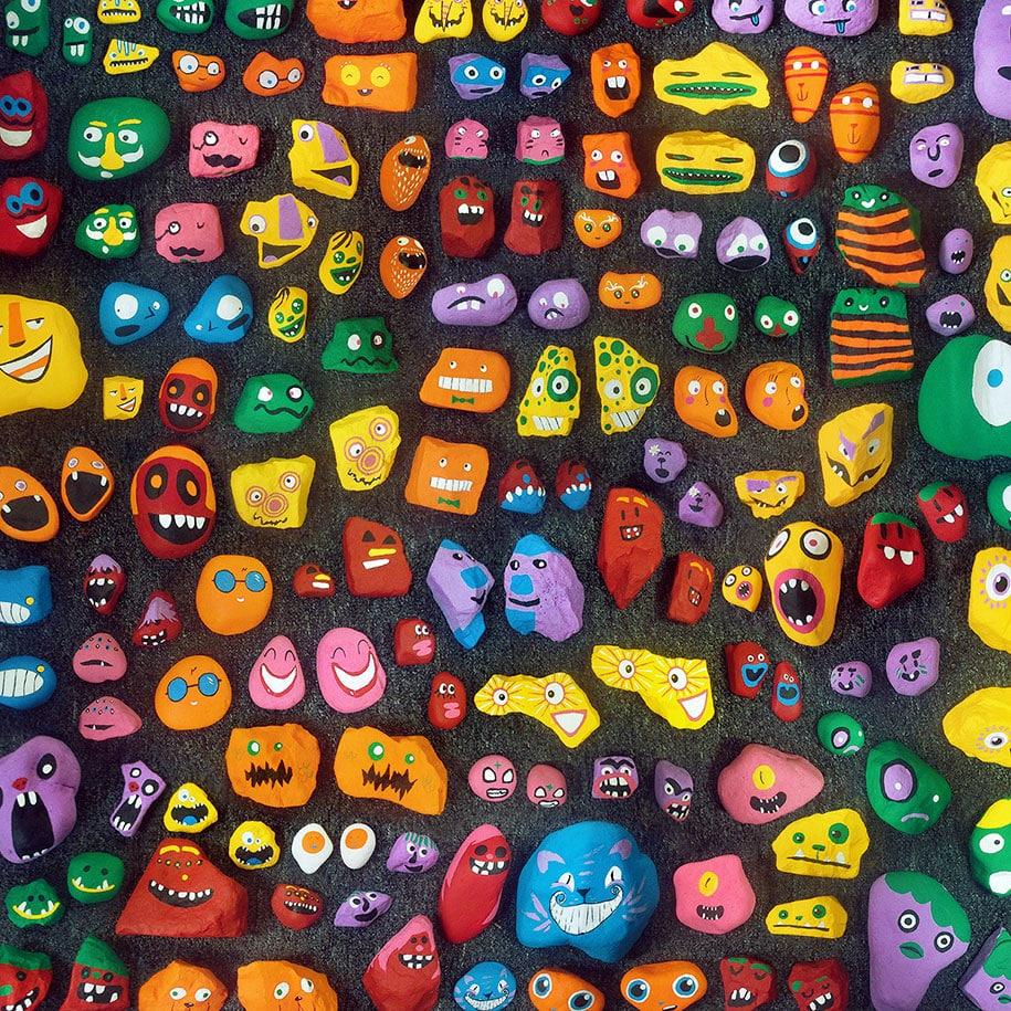 Pai e seus 6 filhos criam arte comunitária pintando e espalhando 1.000 pedras pela sua cidade stylo urbano-2