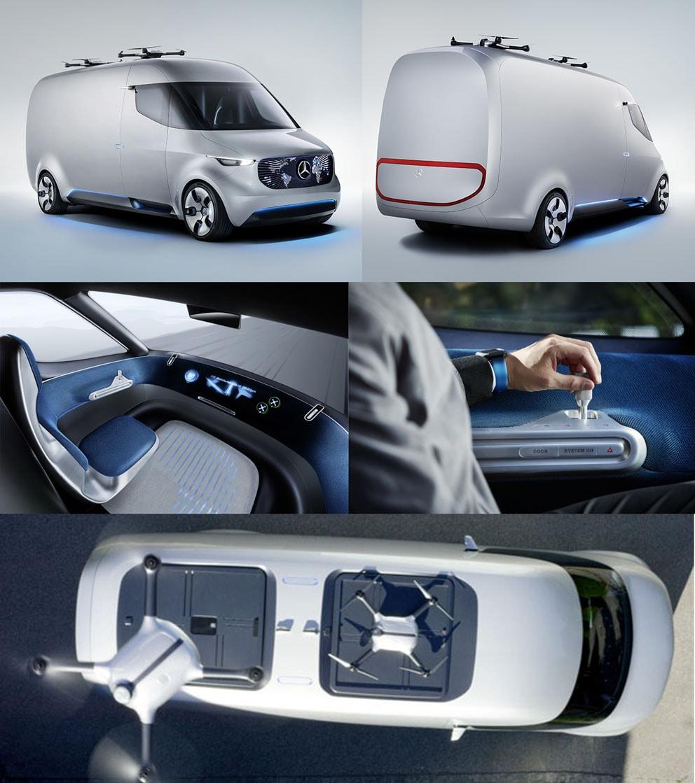 Mercedes-Benz projeta Van elétrica futurista que faz entrega de mercadorias com drones stylo urbano