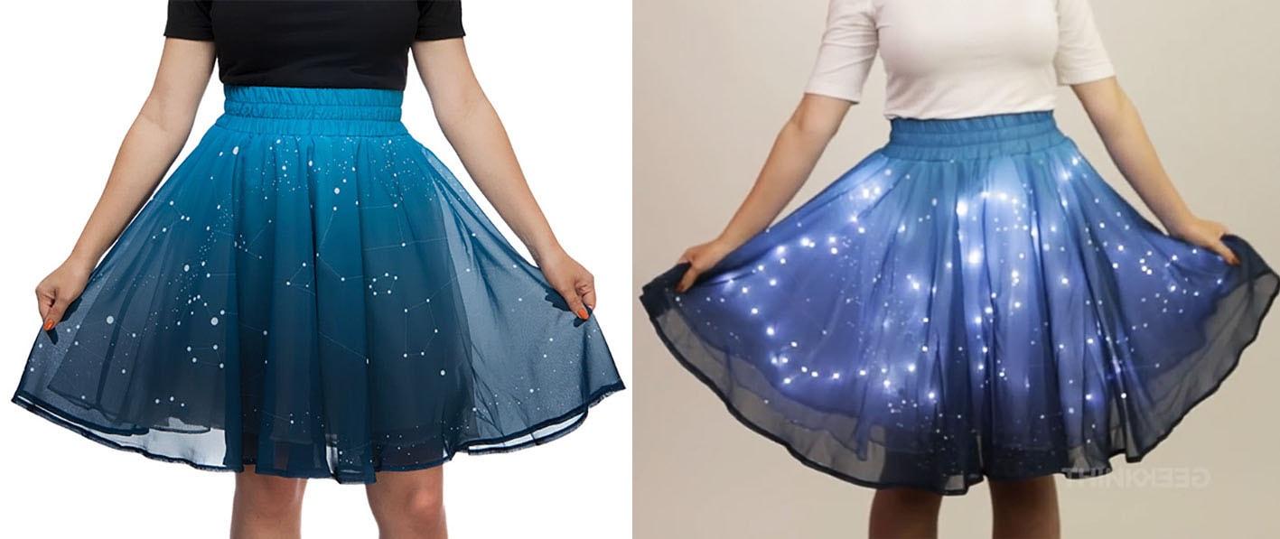 Esta saia mágica pode reproduzir o brilho das estrelas através de LEDs embutidos stylo urbano