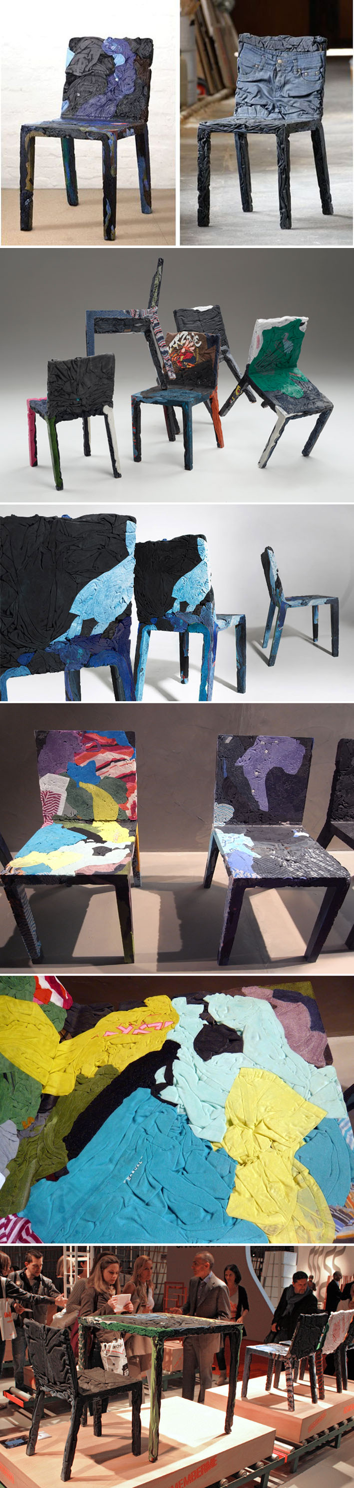 Designers criam móveis sustentáveis reciclando roupas e papeis velhos stylo urbano-1