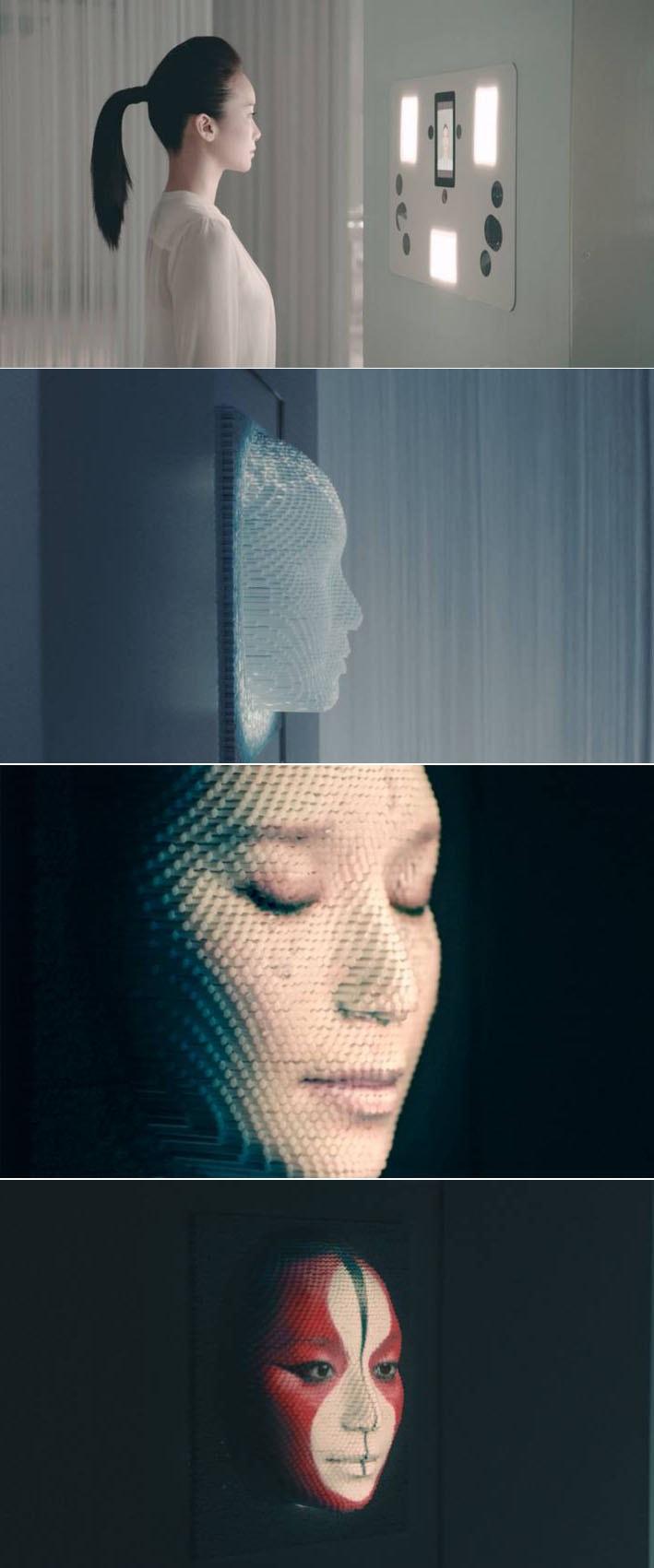 O artista Nobumichi Asai utiliza 5.000 varas motorizadas para recriar um rosto em 3D stylo urbano