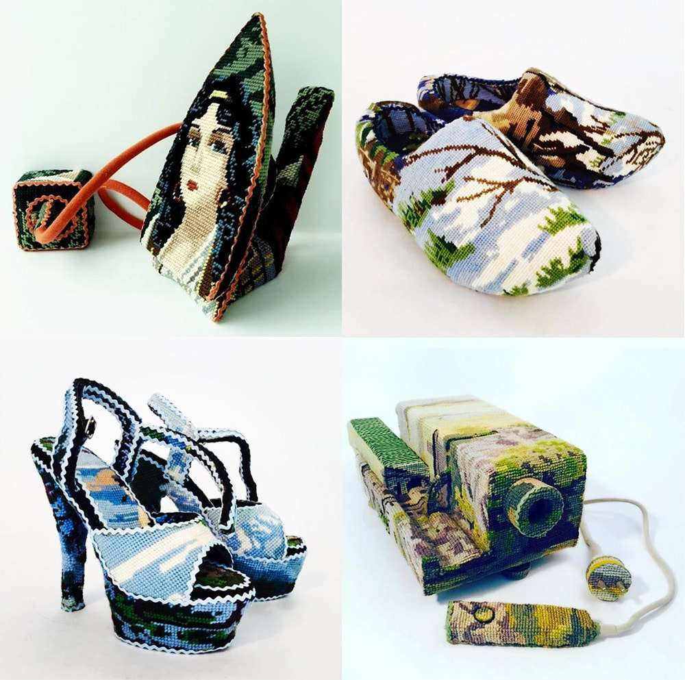 Artista Ulla Stina Wikander forra objetos vintage de uso doméstico com tapeçaria stylo urbano