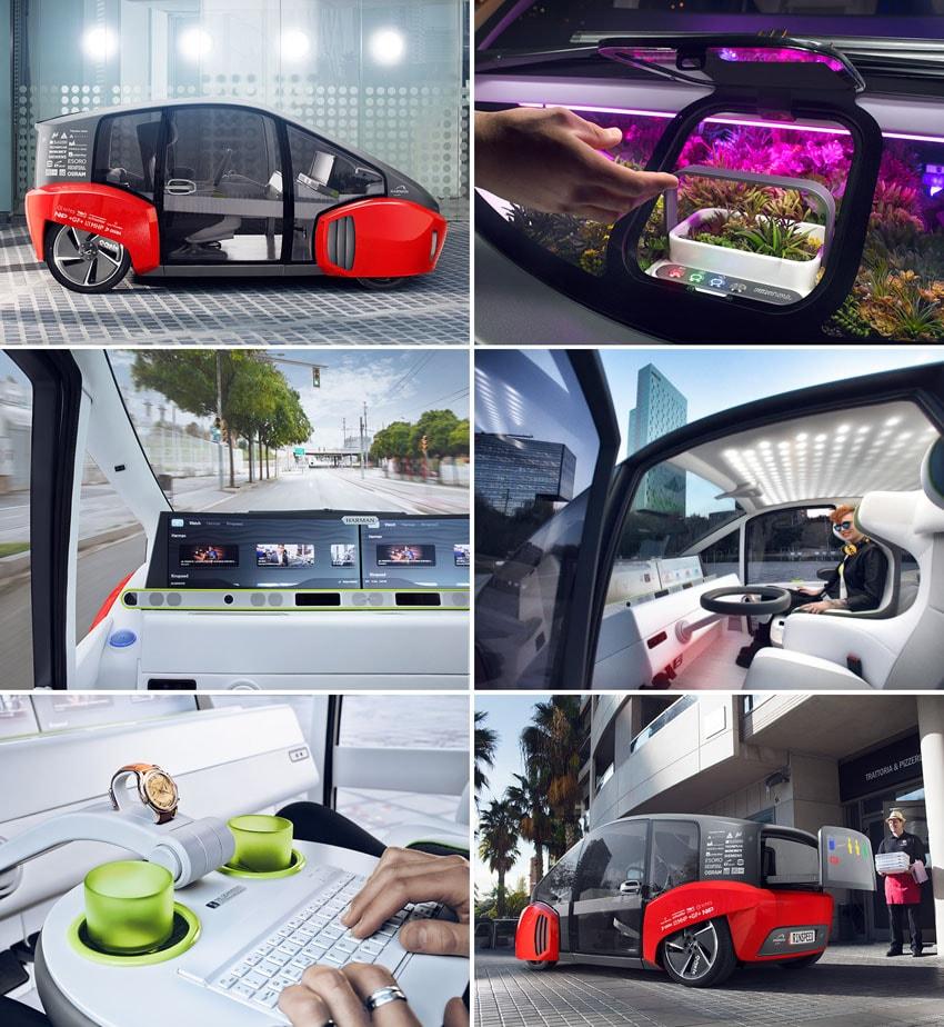 Rinspeed Oasis : O carro conceito autônomo que vem com jardim interno stylo urbano