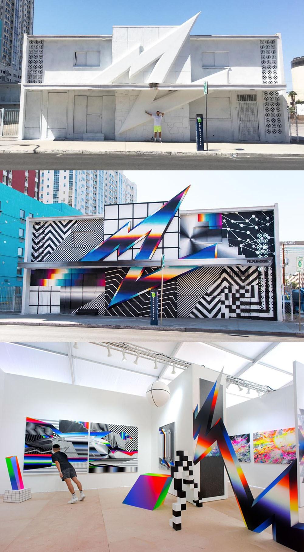 Conheça o grafite retrô, cinético e 3D do artista Felipe Pantone stylo urbano