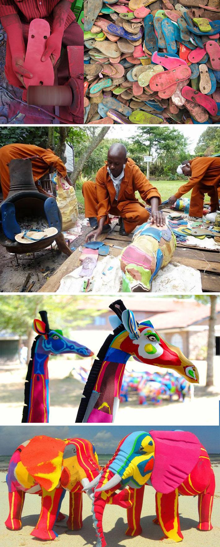 Artesãos transformam chinelos velhos em obras de arte e objetos de decoração stylo urbano-1