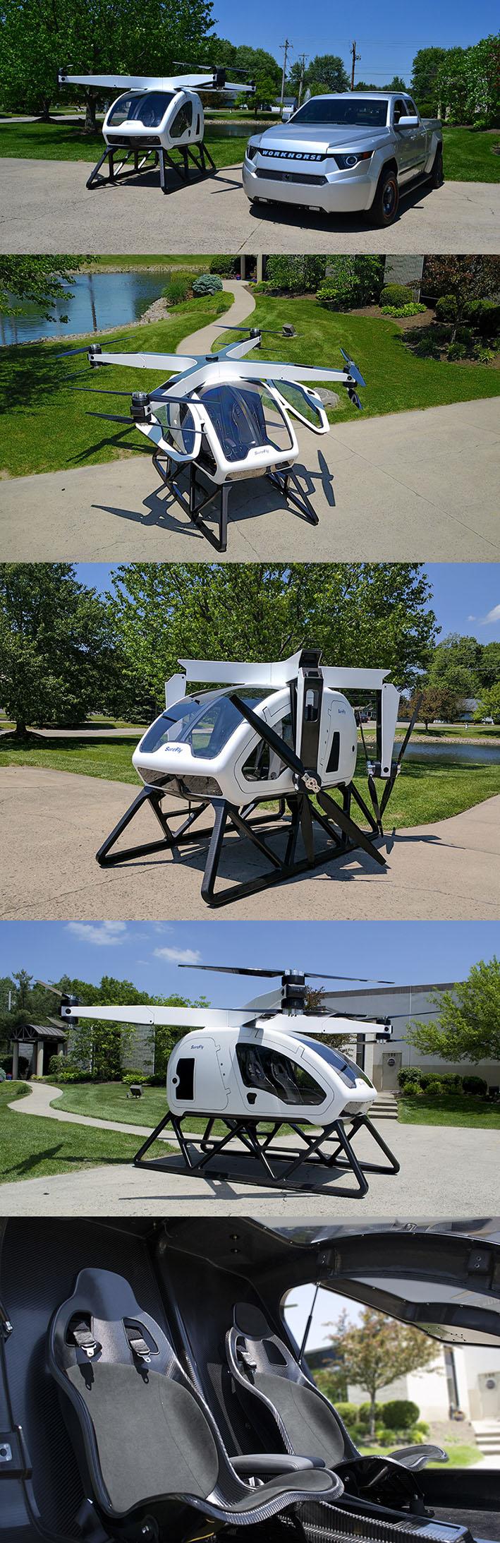 O carro voador do futuro Surefly funde helicóptero com drone stylo urbano