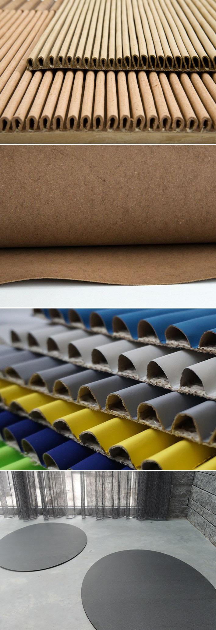 Buxkin é um material flexível feito de couro reciclado para paredes, pisos, painéis e móveis stylo urbano