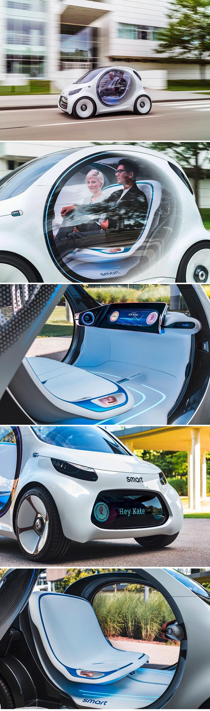 Vision EQ ForTwo - O futuro da mobilidade nos carros elétricos autônomos compartilhados stylo urbano
