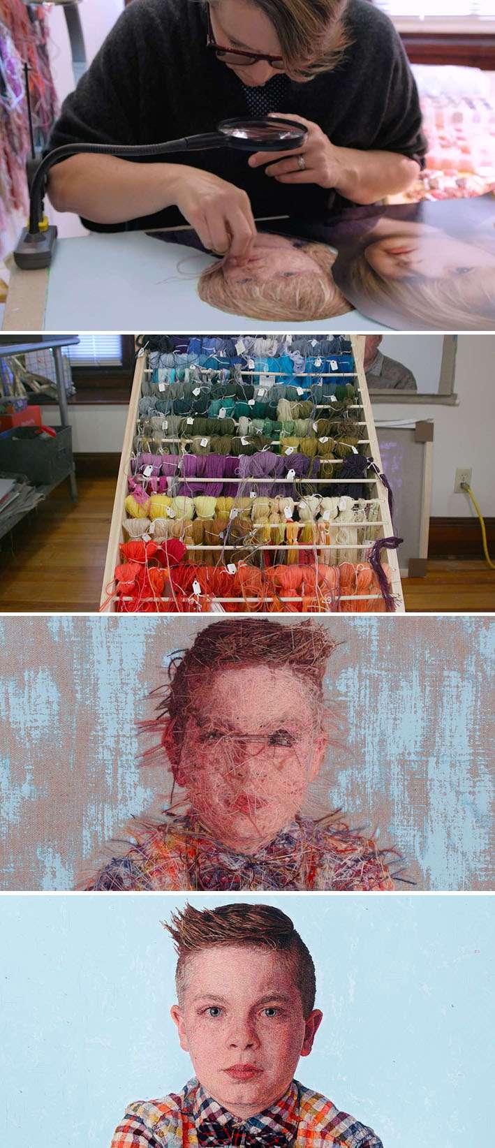 Artista Cayce Zavaglia cria fascinantes retratos de pessoas usando fios de algodão e lã stylo urbano